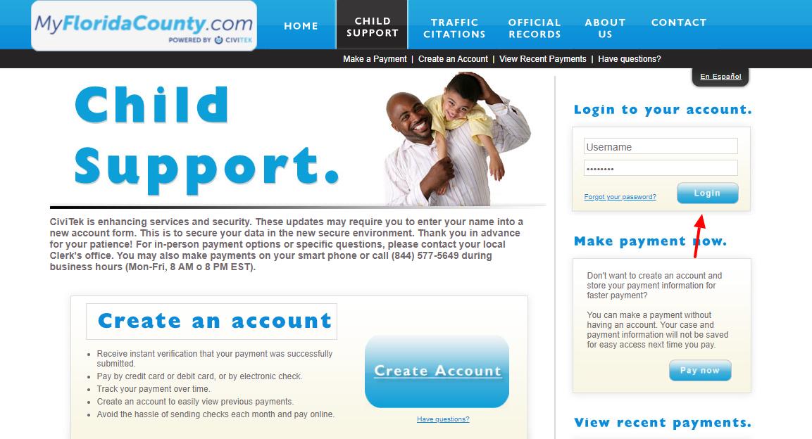 myfloridacounty child support login
