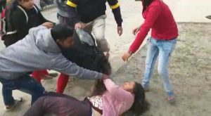 students of siliguri women's college fighting