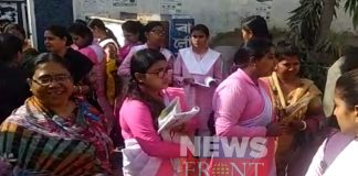 Extra security on hs exam hall