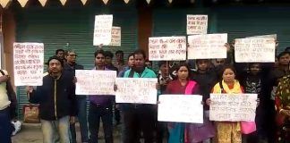 protest for temporary bank worker suspended