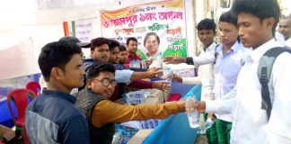 water and chocolate distribution by the tmc youth member