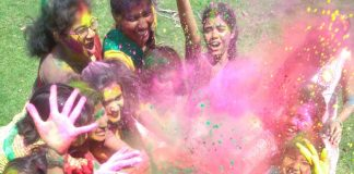 Color festival with present and old moment