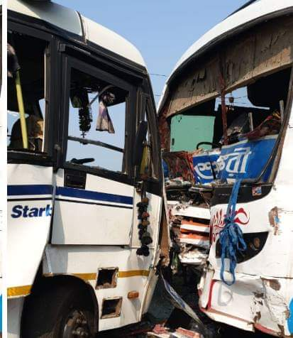 Passenger and tourist bus accident