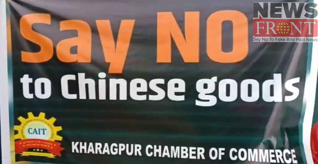 Traders protests by burning Chinese products