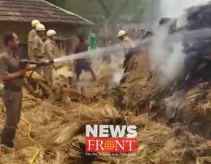 straw stack Burned in the fire at gopiballavpur