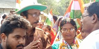 Birbhavya campaigning in his village