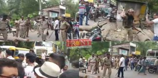 Police lathi charge on Protests of drinking water