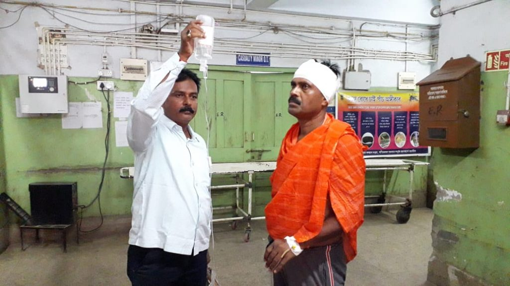 the bjp attack to police officer