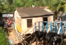 A wooden bridge collapsed at Daspur