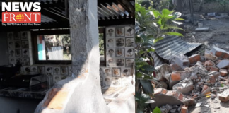 two houses damaged by elephants